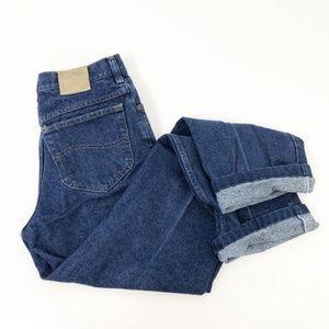 VTG Lee High Rise Mom Jeans Dark Wash Straight Leg